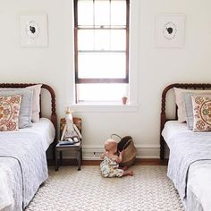 Vintage Find // A Jenny Lind Spool Bed. Sweet room for girl or boy Girls Bedroom, Bedroom Decor, Kid Bedrooms, Master Bedroom, Bedroom Ideas, Lego Bedroom, Childs Bedroom, Bedroom Photos, Boy Rooms