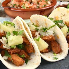 Tacos al Pastor Healthy Recepies, Healthy Dinner Recipes, Mexican Food Recipes, Easy Pasta Recipes, Cooking Recipes, Tacos Pastor, Vegetarian Lettuce Wraps, Tacos And Burritos, Comfort Food