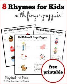 8 Rhymes for Kids - with free printable finger puppets! Preschool Songs, Kids Songs, Preschool Literacy, Free Preschool, Early Literacy, Preschool Ideas, Pre Reading Activities, Literacy Activities, Free Nursery Rhymes
