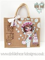 Personalised hand painted Bride/wedding Jute Bag