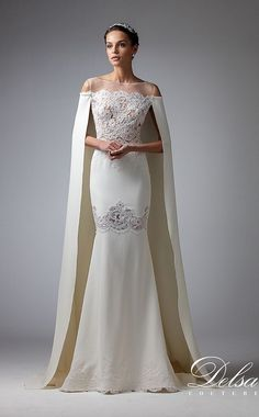 Regal sheath dress with cape in cady crêpe and embroidered French lace. A highly feminine look with transparent details.