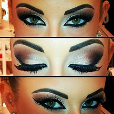 Gold smokey eye makeup. Perfect for a desi bride. Arabian eye makeup with a dark brow and dark eyeliner.