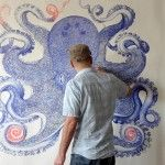 A Gargantuan Octopus Rendered with Discarded Ballpoint Pens by Ray Cicin