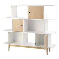 Biblioteca de madera blanca L 145 cm