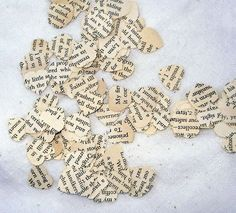 Favorite book confetti...could be good for tea parties or Harry Potter club events...