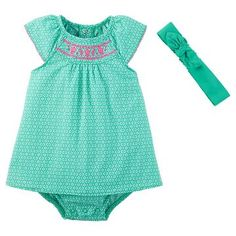 Just One You™Made by Carter's® Baby Girls' Sunsuit with Headband - Teal