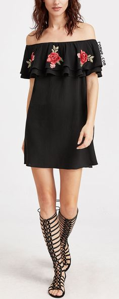 Shop Black Embroidered Rose Applique Layered Ruffle Off The Shoulder Dress at ROMWE, discover more fashion styles online. Pretty Dresses, Sexy Dresses, Dress Outfits, Casual Dresses, Short Dresses, Fashion Outfits, Summer Dresses, Womens Fashion, Sophisticated Dress
