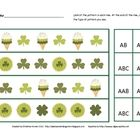 Free! This is a free St. Patrick's Day pattern sheet created by Christina Aronen. The student looks at the pattern and has to identify what type of patte...