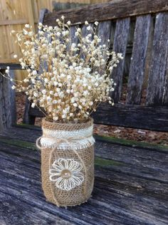 This listing is for a set of 2 jars. These jars would be just lovely as Centerpieces for a rustic country themed Christmas or at a rustic, country barn wedding. They look adorable with the dried babies breath. (NOT INCLUDED) It would also be nice with a candle inside. You can also