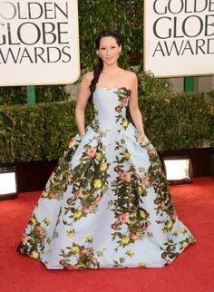 Lucy Liu in Carolina Herrera at the 2013 Golden Globes #flowerfashion