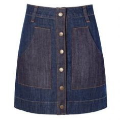 Saia jeans botões Daslu - azul