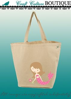 Canvas Tote Bag-Large Carry All Recycled Organic Tote - Under the Sea- Pink Mermaid
