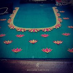 """""""May we exist like a lotus, / At home in the muddy water. / Thus we bow to life as it is."""" - Zen Our latest. Cutwork Blouse Designs, Simple Blouse Designs, Embroidery Neck Designs, Stylish Blouse Design, Bridal Blouse Designs, Blouse Neck Designs, Simple Embroidery, Simple Designs, Hand Embroidery"""