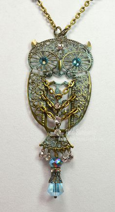 Patina and Bronze Owl Necklace