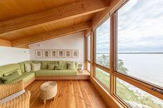A wooden lounge facing Lake Winnipeg Victoria Beach Manitoba Canada [15001000]