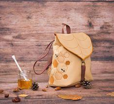 Hive Leaf Mini backpack, Honey Bee Embroidered Waterproof Backpack, Bee Hive Bag