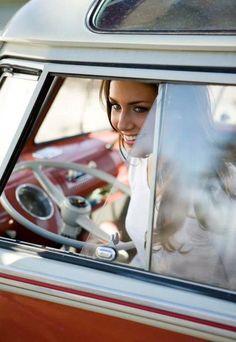 Girl in VW split bus