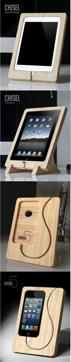 The Chisel Dock is simply a beautiful way to prop up charge and showcase your iPhone or iPad. Featuring a minimalistic design our docks are handcrafted from renewable bamboo and offer a unique and stylish alternative to a generic dock. It has been chis Router Projects, Home Projects, Woodworking Projects, Projects To Try, Woodworking Plans, Wood Crafts, Diy And Crafts, Tablet Stand, Ipad Stand