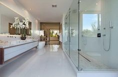 Modern Master Bathroom with Double sink, Handheld showerhead, Vessel sink, Freestanding, Complex marble counters, Rain shower