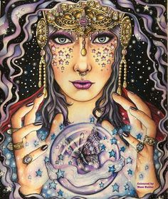 My Mystical Lady is complete ... I added a butterfly to the Crystal Ball  as I just adore them  From the colouring book by @hannakarlzon - Magical Dawn  . If you want to see just my colourings I have an account @forestlovecolouring  . #hannakarlzon#magicaldawn#magicaldawncoloringbook#artecomoterapia#divadasartes#desenhoscolorir#coloring_secret#coloring4adults#colorindolivrostop#coloringmasterpiece#coloringmasterpiece#mycreativeescape#beautiful...