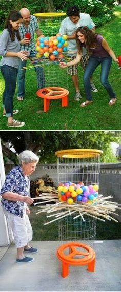 Shishkaball Ball-Drop Game. Kirplunk game on a GRAND SCALE for the yard. What a fun party game also!!!!