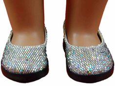 """Glamorously shimmery silver slip on shoes are the perfect finishing touch for dressy 18"""" doll outfits."""
