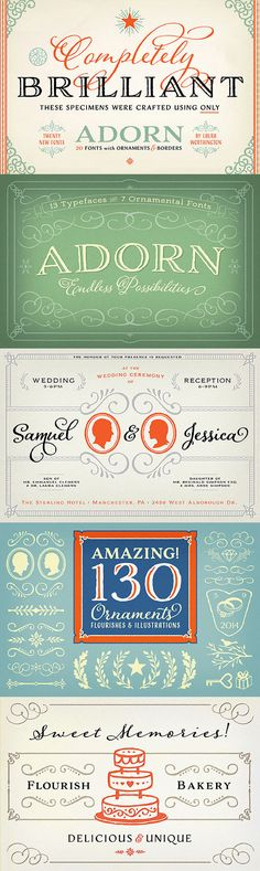 Laura Worthington's Adorn Collection – 20 new fonts with ornaments and borders