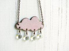 Pink Cloud, Enameled Necklace