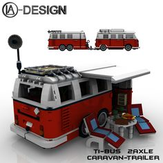 https://flic.kr/p/iS76BD | Lego 10220 T1 Bus Wohnwagen Camper Trailer 12 | The Custom Caravan Trailer - 2axle for the legendary T1 Bus. Details of the model: - The caravan is an additive model for the legendary T1 bus - It consists of 1433 parts (including hitch) - With a full interior, toilet-shower and lots of extras - Opening doors, tailgate and trunk - seat can be converted into a bed - roof awning for drawing, sun loungers and outside table - hitch and jockey wheel for parking…