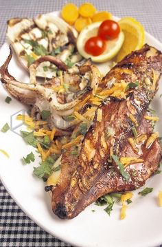 Grilled squid, Il Pirata restaurant, Marettimo island, Egadi islands, Sicily, Italy