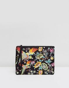 New Look Dove Embroidered Clutch Bag