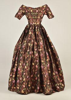 LOT 212 SILK BROCADE DRESS, c. 1845
