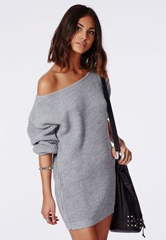 Ayvan Off Shoulder Knitted Sweater Dress Grey - Dresses - Missguided