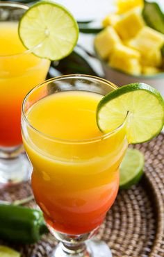 Spicy Tequila Sunrise made with jalapeno and pineapple infused tequila.
