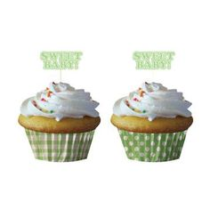 gender neutral baby shower cupcakes - Sweet Baby Feet - Baking Cups with Picks