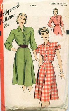 Hollywood 1889 Vintage Sewing Pattern Misses One Piece Dress, Shirtwaist Dress, Size 16 Bust 34 1940s Dresses, Vintage Dresses, Vintage Outfits, Vintage Clothing, 1940s Fashion, Vintage Fashion, Shirtwaist Dress, One Piece Dress, Retro Dress