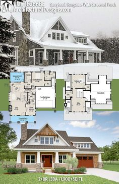 Architectural Designs House Plan 18266BE Comes To Life. 2+BR | 3BA | 1,900SQ.FT. | Ready when you are. Where do YOU want to build? #18266be #adhouseplans #architecturaldesigns #houseplan #architecture #newhome #newconstruction #newhouse #homedesign #dreamhome #dreamhouse #homeplan #architecture #architect #rustichome #rustichouse #countryhome #countryhouseplan #countryhomeplan #bungalow #snow