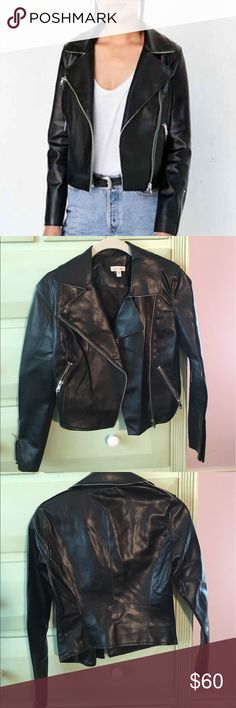 URBAN OUTFITTERS faux leather jacket Brand new and never worn silence + noise black leather jacket!!! Cute and nice leather detail on jacket sleeves! Super flexible with offers! Urban Outfitters Jackets & Coats