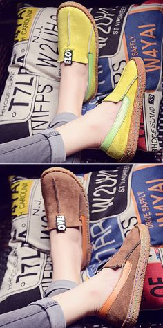 US$14.45 Suede Pure Color Slip On Stitching Flat Soft Shoes For Women