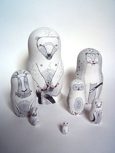 white animal stacking dolls