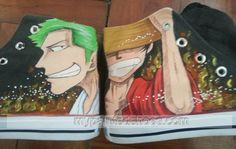 One Piece hand painted shoes #Luffy and #Zoro Anime Shoes for Men/