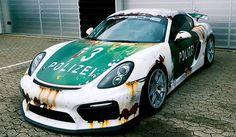 Rust Wrap Police Car Porsche Cayman GT4 by WrapStyle