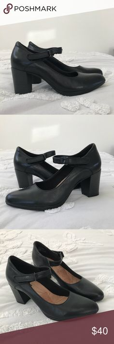 Clark's Mary Jane Style Heel Clark's collection soft cushion, worn once.  Mary Jane style with strap  2.5 inch block heel Size 9  Black leather Simple, stylish, comfy. Clarks Shoes Heels