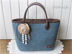 ブルーグレイの麻ひもバッグ