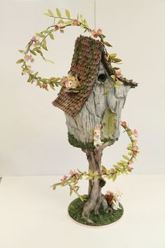 """Fairy House (Now With More Rabbits) We did this for an online collaboration. The theme was """"fantasy."""" The cake features a. Fairy House Cake, Fairy Garden Houses, Fairy Gardening, Housewarming Cake, Bird Cage Cake, Gravity Defying Cake, Gravity Cake, Whimsical Wedding Cakes, Pink Cake Box"""