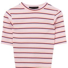 Cropped Stripe Pattern T-Shirt ($33) ❤ liked on Polyvore featuring tops, t-shirts, clothes - tops, crop tops, bunny t shirt, pink crop top, striped crop top, pink top and slim fit t shirts