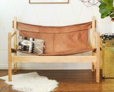 Vintage Revivals | Ugly Sofa Upcycled Into Leather Safari Sling Bench
