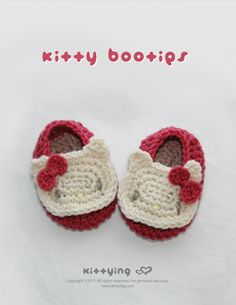 Hello Kitty Baby Booties Crochet PATTERN by kittying.com from mulu.us | This pattern includes sizes for 0 - 12 months.