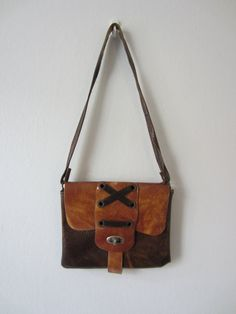 70s Brown Pleather Purse w/ Lace Decoration and Distressed Strap