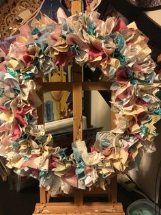 This Southern Gals pride!! My first fabric strip wreath 😍